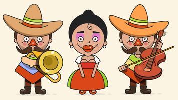 Mexicaanse muzikanten vectorillustratie met twee mannen en een vrouw met gitaren In inheemse kleding en Sombrero platte Vector