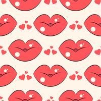 Lippen patroon. Vector naadloos patroon met de rode kussende vlakke lippen van de vrouw.