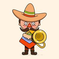 Mexicaanse muzikant vectorillustratie met mannen inheemse kleding en Sombrero platte Vector