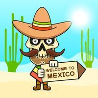 Cartoon Mexicaanse schedel vectorillustratie voor Dia de Los Muertos. Leuke mannelijke schedel