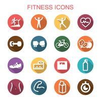 fitness lange schaduw pictogrammen vector