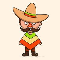 Mexicaanse cartoon man, klaar voor uw ontwerp, wenskaart, banner. Vector