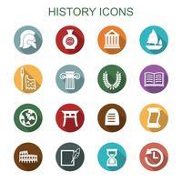 geschiedenis lange schaduw pictogrammen vector