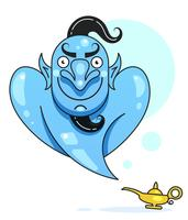 Lamp Aladdin met gin, de magische lamp van Aladdin. Klaar voor uw ontwerp, wenskaart, banner. Vector