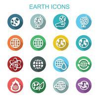 aarde lange schaduw pictogrammen