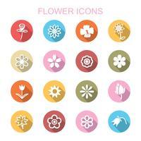 bloem lange schaduw pictogrammen vector