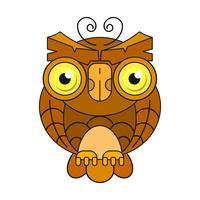 Uil of uil vogel schets vector geïsoleerde pictogram. Wild bos Gevederde nacht roofvogel. Wilde fauna en zoölogie