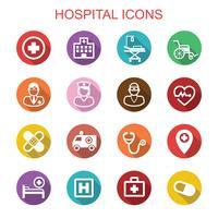 ziekenhuis lange schaduw pictogrammen vector
