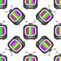 TV-pictogram in lijnstijl naadloze patroon achtergrond. Zakelijke platte vectorillustratie. Televisieteken vector