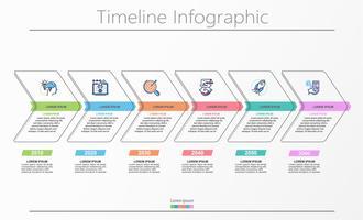 Visualisatie van bedrijfsgegevens. tijdlijn infographic pictogrammen ontworpen voor abstracte achtergrond sjabloon. vector