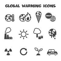 opwarming van de aarde pictogrammen vector