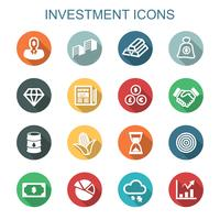 investeringen lange schaduw pictogrammen vector