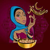 Ramadan Kareem. Tekst. Vector. Belettering. Wenskaartontwerper. Mooi meisje. Op de achtergrond van Bourgondië. In gouden letters. Oosterse zoetigheden. Turks Fruit