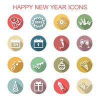 Gelukkig Nieuwjaar lange schaduw pictogrammen vector