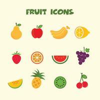 fruit kleur pictogrammen symbool vector