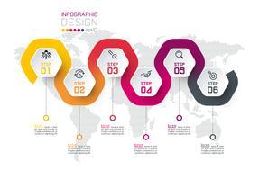 Hexagon-etiket met infographics van de kleurenlijn verbonden.