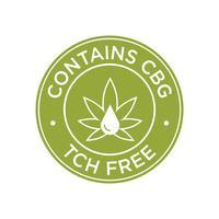 Bevat CBG. THC Gratis pictogram.