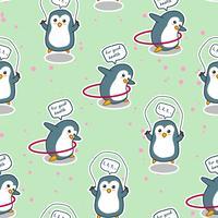 De naadloze pinguïn oefent voor goed gezondheidspatroon. vector