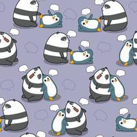 Naadloze panda en pinguïn praten patroon. vector