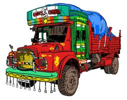 Indiase oude vrachtwagen vector