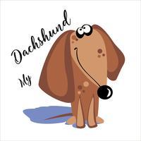 Mijn teckel. Belettering. Een cartoonhond. Grappig grappig. Vector illustratie.