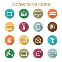 reclame voor lange schaduw pictogrammen vector