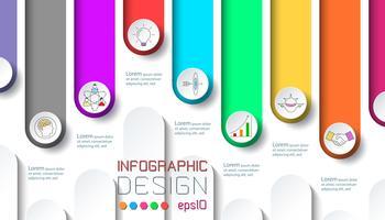 Zeven labels met zakelijke pictogram infographics.