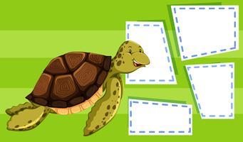 Groene schildpad op notitiesjabloon