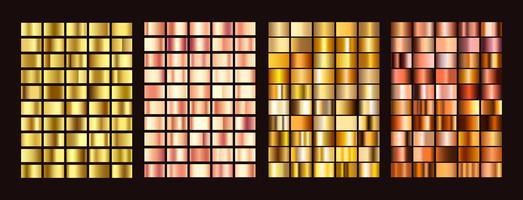 Grote collectie kleurrijke hellingen. Metaalgradiënten bestaande achtergronden. Vector.