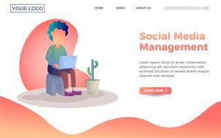 Social media management bestemmingspagina sjabloon. Een kerel die met zijn laptop illustratie speelt vector