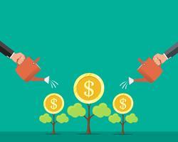 Menselijke hand drenken geld dollar munt boom, geld groei, financiële groei concept. Vector illustratie.