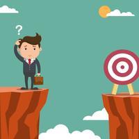 Verwarde zakenman het zoeken van doelstellingen die op een klip worden gevestigd. Vector illustratie.