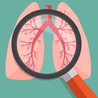 Vergrootglas op longen. Vectorillustratie.