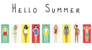 Hallo zomer, mensen op strandmat vector