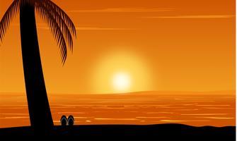 Silhouet van palmmening op strand onder de achtergrond van de zonsonderganghemel. Ontwerp zomer vectorillustratie