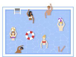 Zomervakantie, spelen in het zwembad