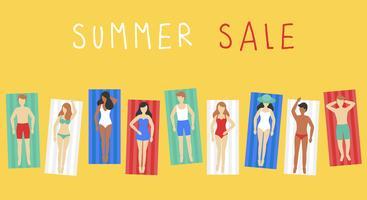 Zomer verkoop, mensen op strandmat vector