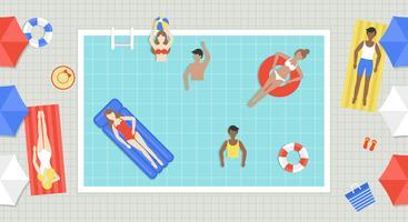 Zomervakantie, bovenaanzicht Zwembad vector