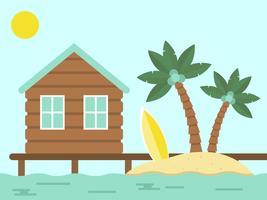 Zomervakantie, bungalow en eiland met zee vector