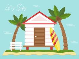 Zomervakantie, bungalow op eiland met uitzicht op zee vector