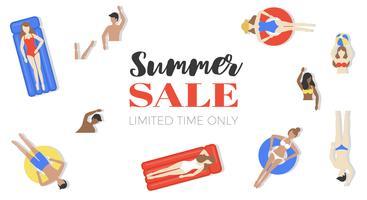 Affiche zomeruitverkoop, mensen in zwembad