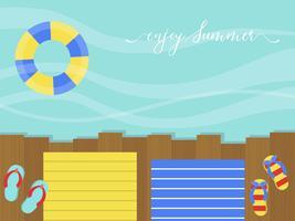 Geniet van de zomer, houten terras aan zee vector