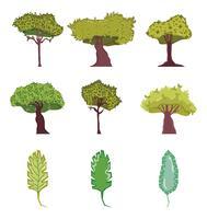 Set van bomen cartoons vector