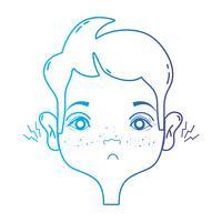 lijn man met otitis oorpijn ziekte-infectie vector