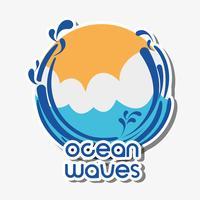 oceaan golven met lanscape wolken ontwerp
