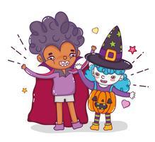 Halloween en kinderen cartoons vector