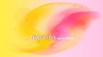 De kleur die in het papier spettert. De slagen van de waterverfborstel met goud schitteren geïsoleerd op wit. Creatieve illustratie. Artistiek kleurenpalet. Mode achtergrond.