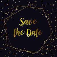 Bruiloft uitnodigingskaarten. Achtergrond en gouden geometrische lijn ontwerp vector.