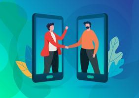 Verwijs een vriend. Online communicatie. vectorillustratie