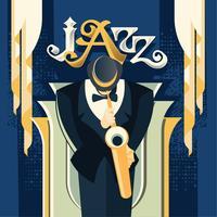 Fantasy Saxophonist Speel saxofoon voor muziek Jazz vector